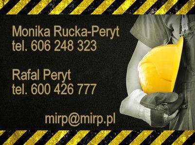 Rafał Peryt – główny specjalista BHP, certyfikowany przez CIOP-BIP Ekspert ds. BHP. Posiada duże doświadczenie i bardzo dobre umiejętności w prowadzeniu szkoleń praktycznych z zakresu udzielania pierwszej pomocy przedmedycznej. Prowadzi szkolenia z zakresu bezpieczeństwa pracy, oceny ryzyka, postępowań powypadkowych, warsztaty z komunikacji, efektywnego zarządzania czasem oraz treningi dla pracowników i przełożonych wszystkich szczebli. Posiada praktyczną wiedzę z zakresu ochrony pracy w firmach m.in.: branży poligraficznej, przemysłu drzewnego, usług dla ludności, hotelarstwa i gastronomii, zarówno zakładów produkcyjnych jak i usługowych a także dużych korporacji. Doświadczony ekspert, lubiący wyzwania zawodowe, mający w swoim dorobku zawodowym liczne publikacje dla wydawnictwa Raabe sp. z o.o. oraz konsultacje w dziedzinie bhp, gwarantujący najwyższy merytoryczny poziom. Absolwent Politechniki Szczecińskiej w kierunku Ochrona Środowiska. Audytor Systemów Zarządzania Bezpieczeństwem. Właściciel MiRP Szkolenia Doradztwo, 9 lat w służbie BHP. Kontakt: tel. 600 426 777